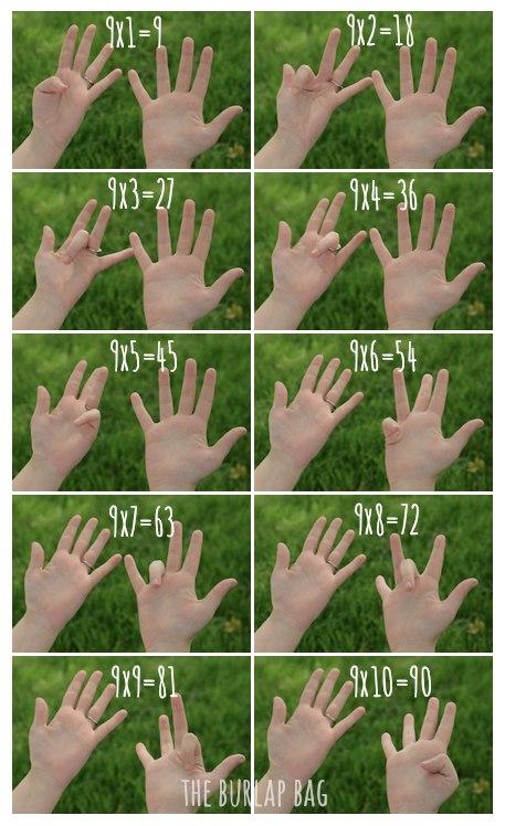 Все примеры умножения на 9 на пальцах.