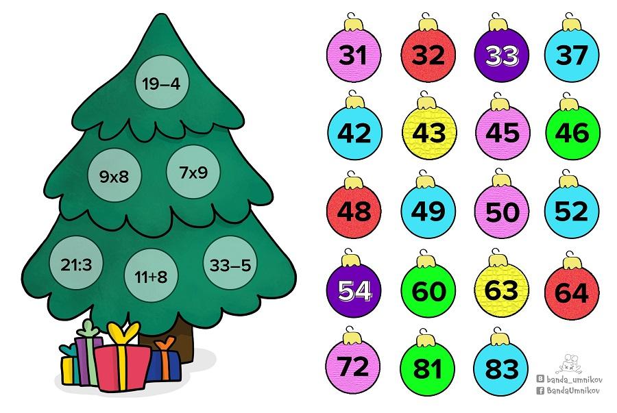 Для, новогодние математические открытки