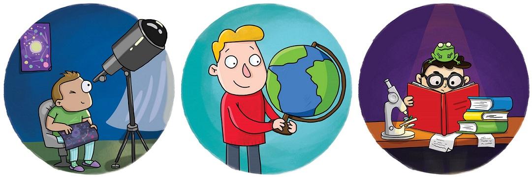 Иллюстрации из игры: мальчик смотрит в телескоп, мальчик с глобусом и мальчик с лягушкой на голове читает книгу.