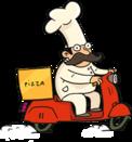Повар готовит пиццу.